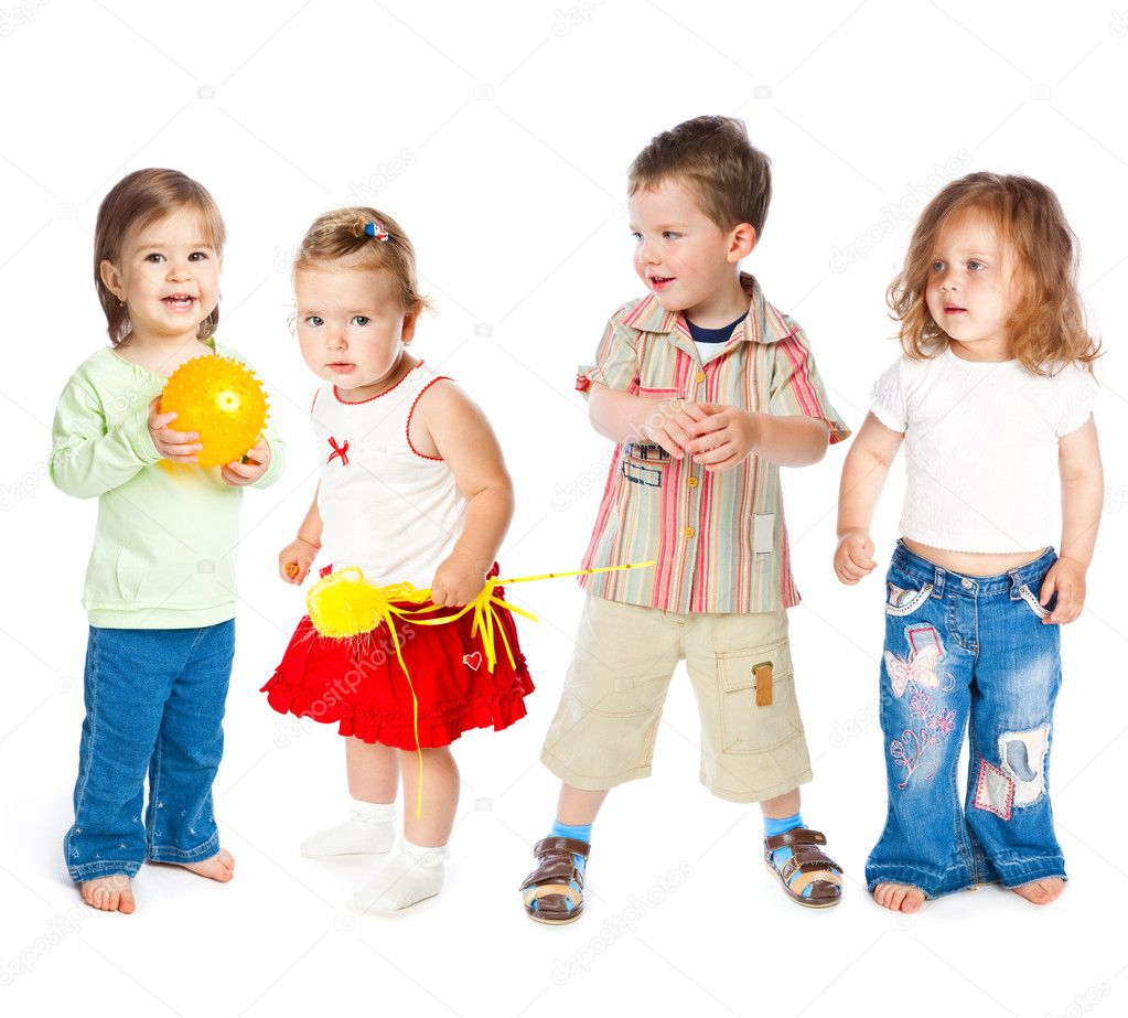 Group of little children. Isolated on white background — Stockfoto #2236283