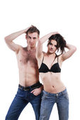 Man and woman in jeans — Stock Photo