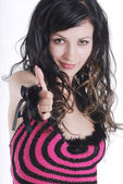 Close-up of a young woman showing thumbs — Stock Photo
