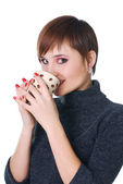 Woman have a cofee-break — Stock Photo