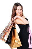 Happy woman on shopping — Stock Photo