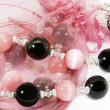 Pink and black beads — Stock Photo