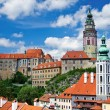 Summer panorama of Cesky Krumlov - Stock Photo