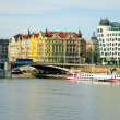River and Dancing house in Prague — Stock Photo
