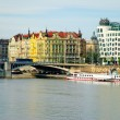 Stock Photo: River and Dancing house in Prague