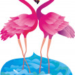 Flamingo making love - Stockfoto