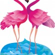 Flamingo making love - Stock Photo