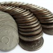 Silver coins on a white - Stock Photo