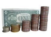 Dollar and coins — Stock Photo