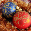 Red and blue christmas balls — Photo