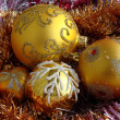 Yellow christmas balls — Stockfoto