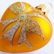 Yellow heart  christmas ornament — Stock Photo