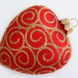 Red hearts christmas ornament — Stock Photo