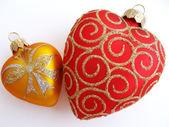 两颗心圣诞节装饰品 — Stockfoto