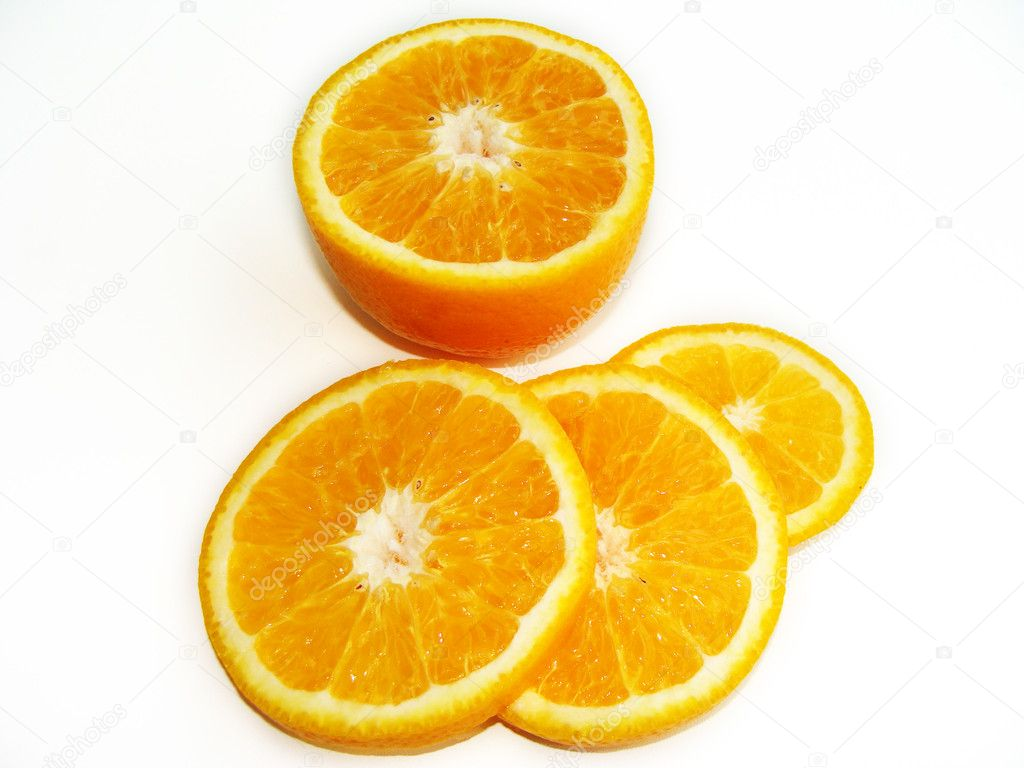 Ripe by mandarine orange tropic fruit isolated over white — Stock Photo #1190322