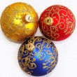 Red, yellow and blue christmas balls — Foto Stock