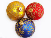 Red, yellow and blue christmas balls — Stock Photo