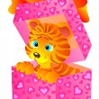 Gift a tiger in a box - Stock Photo