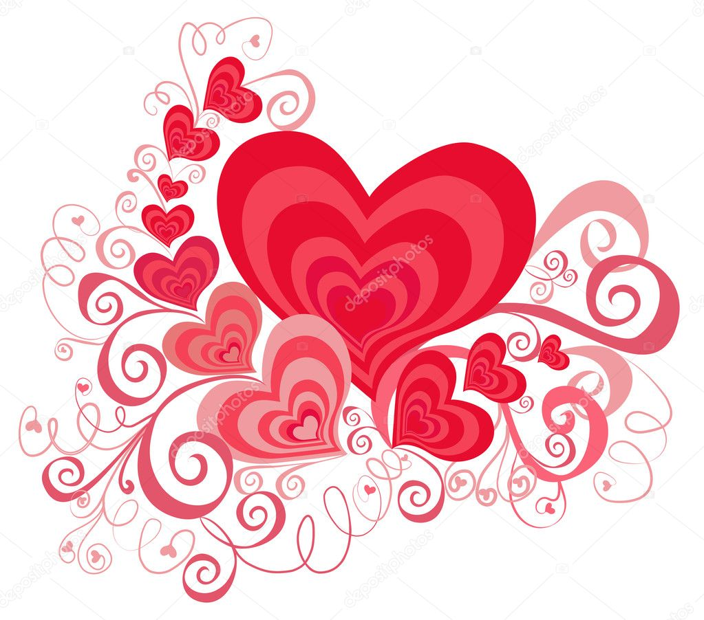 Valentines Day background with Hearts, element for design  Photo #1494857