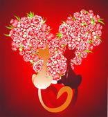 Due gatti innamorate contro il cuore — Foto Stock