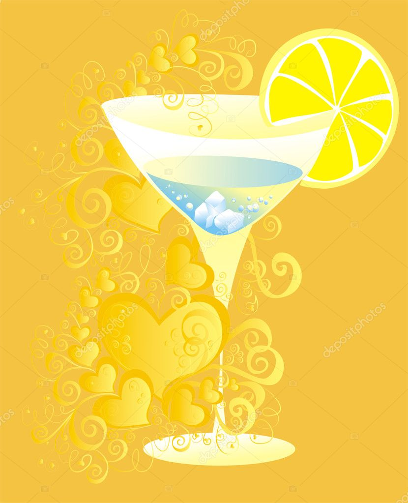 Valentines Day background with hearts and cocktail  — Stock Photo #1574327