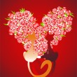 Two enamoured cats with heart, vector - Stock Vector