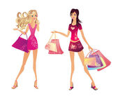 Shopping woman, vector illustration — Stock Vector