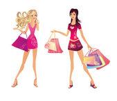 Shopping femme, illustration vectorielle — Vecteur