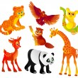 Many different wild animals, Vector — Stock Vector