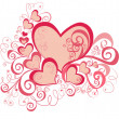 Vector valentines background with hearts - Stok Vektr
