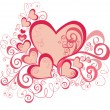 Vector valentines background with hearts - Stock Vector
