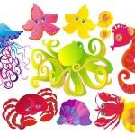 Many sea animals, vector illustration — Stock Vector