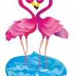 Flamingo kissing. Vector illustration - Stock Vector