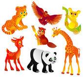 Många olika vilda djur, vektor — Stockvektor