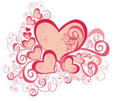 Vector valentines background with hearts — Vector de stock