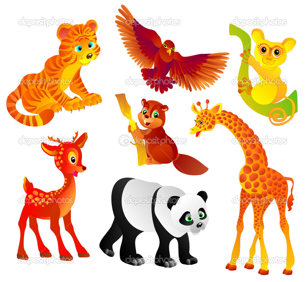 Many different wild animals, Vector illustration — Stock Vector #2217985