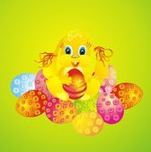 Coniglio e pasqua uova — Foto Stock