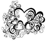 Hjärta med blommig prydnad, vektor — Stockvektor