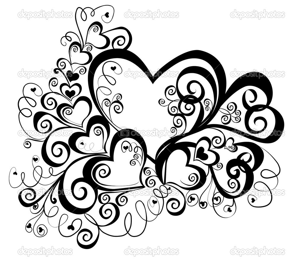 Heart with floral ornament, Element for design, vector image — Stock Vector #2428439