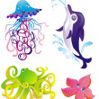 Many different sea animals, vector — Stock Vector #2565079