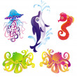 Many different sea animals, vector — Stock Vector #2565082