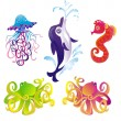 Many different sea animals, vector — Stock Vector