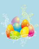 Easter eggs with floral ornament, vector — Stock Vector