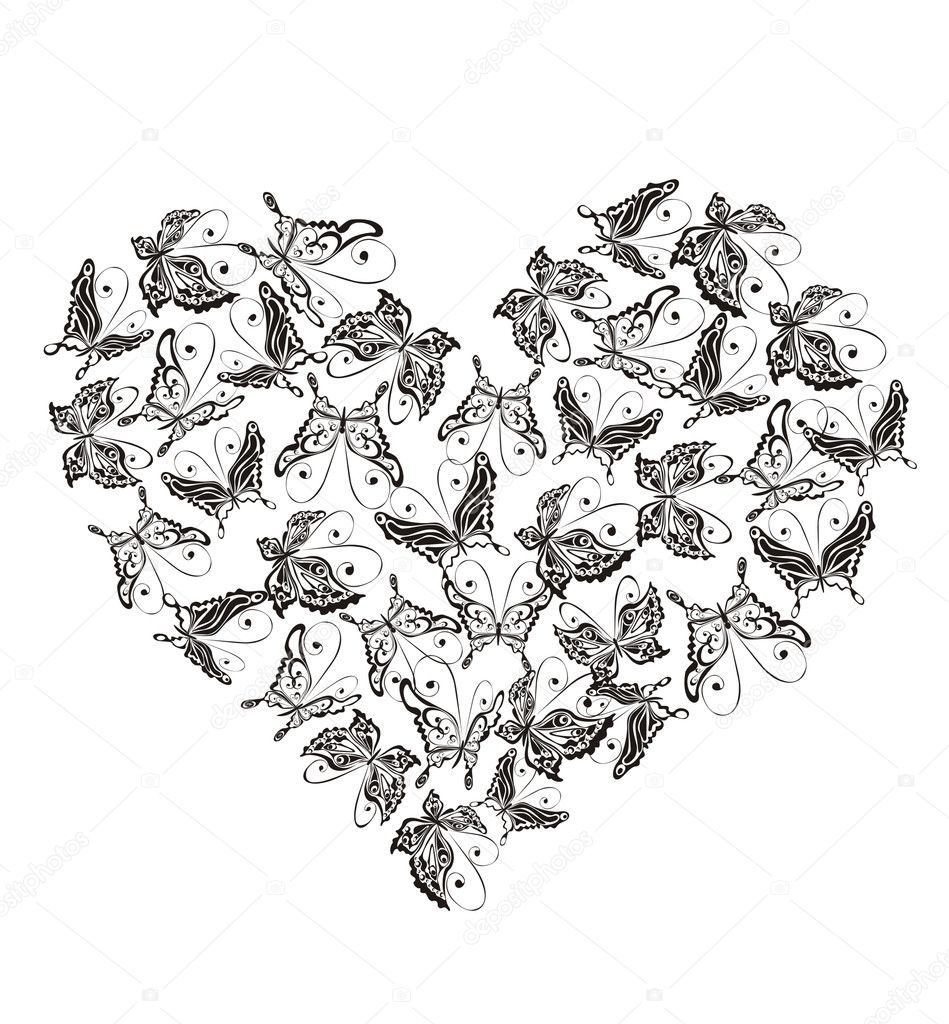 Heart from flying butterflies, vector illustration  Stock Vector #2588152