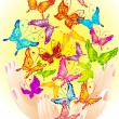 Royalty-Free Stock Vector Image: Flying butterflies in hands