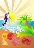 Sea coast with sea animals — Stock Vector