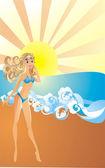 Sexy young woman in bikini on a beach — Stock Vector