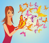 Fashion woman with butterfly — Stock Vector
