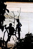 Boys playing at Mekong river — Stock Photo