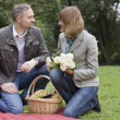 Man and woman by picnic - Stock Photo